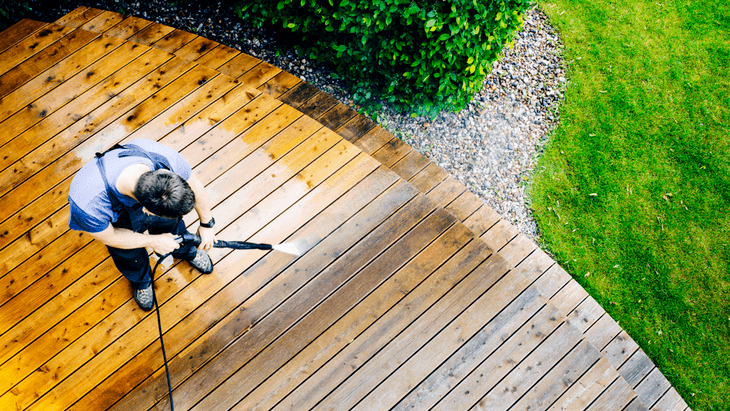 When cleaning wooden deck surfaces