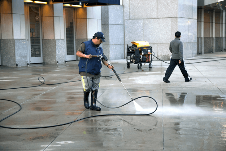 A hot water pressure washer is ideal for cleaning places with high traffic and where grease and grime are present