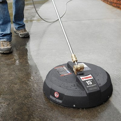 Yamaha surface cleaners are recommended for gas pressure washers with up to 3300 pSI level